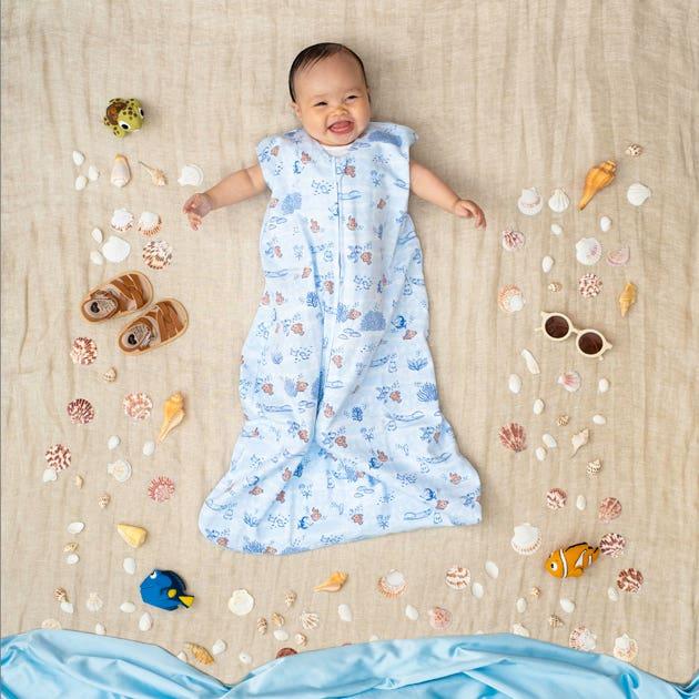 baby in halo disney baby sleepsack wearable blanket in mickey overlay print
