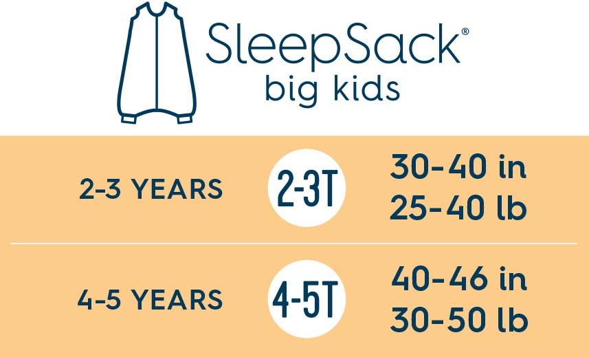 halo sleepsack big kids size chart