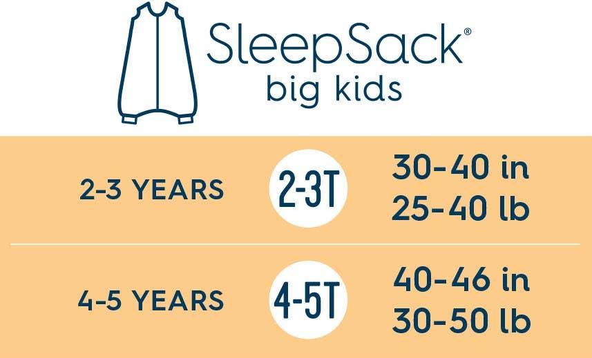 halo sleepsack big kids size chart