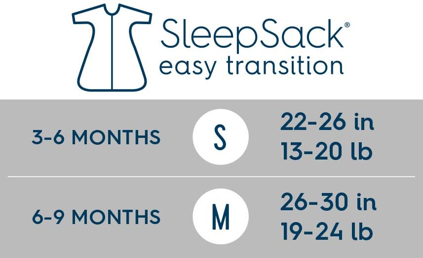 halo sleepsack easy transition size chart
