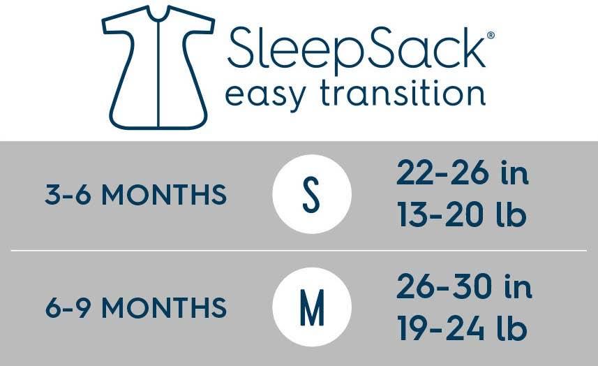 halo sleepsack easy transition size chart