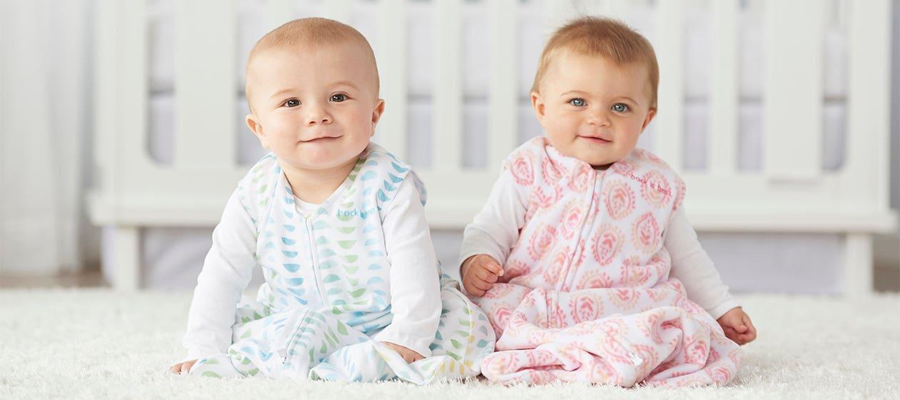two babies in halo sleepsack wearable blankets