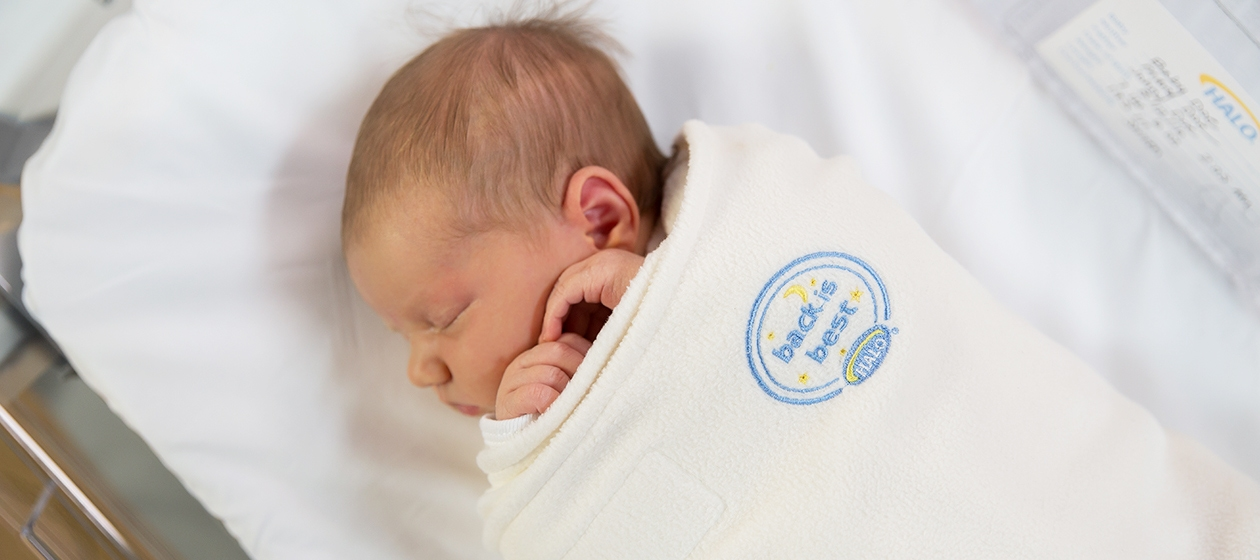 baby sleeping in hospital halo sleepsack swaddle
