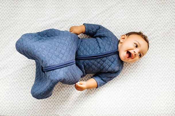 baby in blue halo sleepsack easy transition