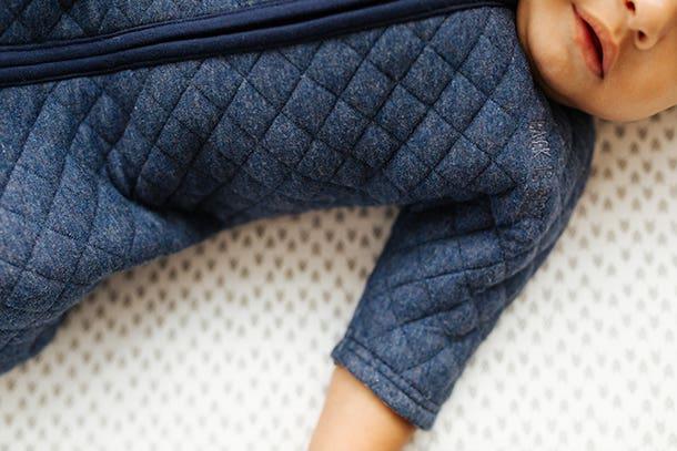 close up of halo sleepsack easy transition short sleeves