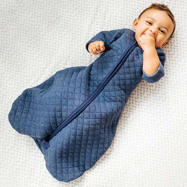 baby in halo sleepsack easy transition in denim heather