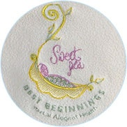 embroidery sample for participating hospitals sweet peas