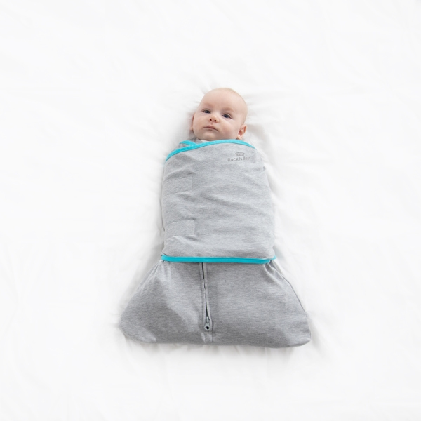 baby wrapped in ideal temp temperature regulating swaddle in heather grey