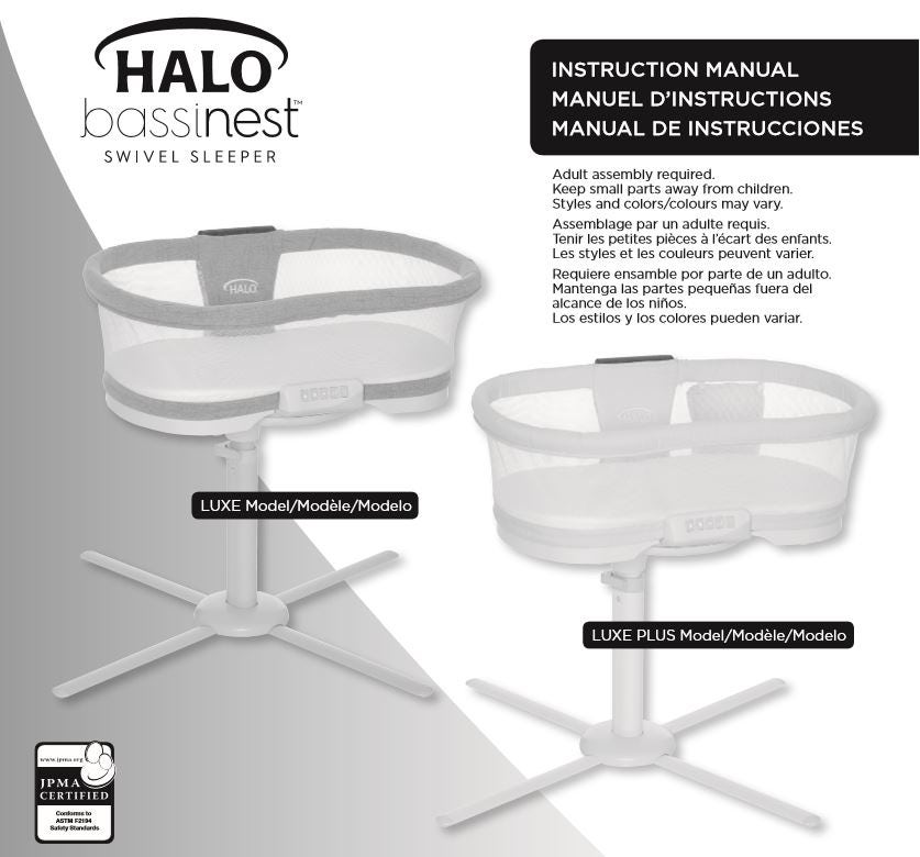 halo bassinest luxe and luxe plus series swivel sleepers user manual