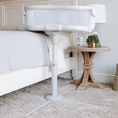 premiere bedside bassinet in bedroom