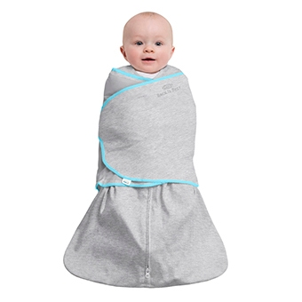 floating baby in grey halo swaddle tech fabric