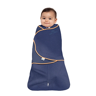 floating baby in navy halo swaddle tech fabric