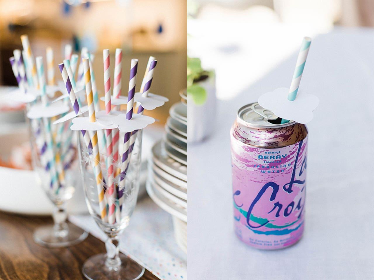 baby sprinkle straw decorations