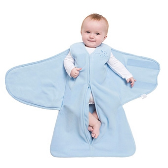 step one of wrapping baby in halo sleepsack swaddle